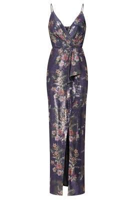 Floral Sequin Surplice Gown by ML Monique Lhuillier