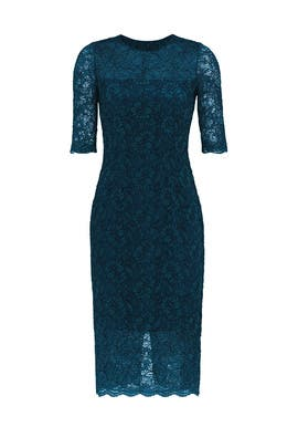 Lace me in Teal Dress by ML Monique Lhuillier