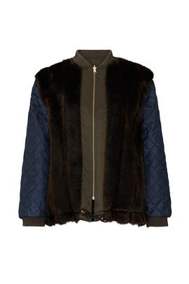 Faux Fur Swing Bomber Jacket by Harvey Faircloth