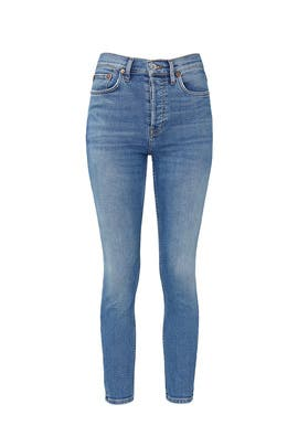 Light Indigo High Rise Ankle Crop Jeans by RE/DONE