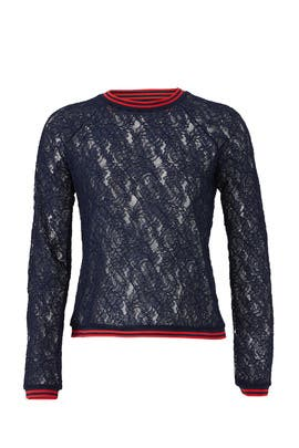 Sheer Navy Lace Top by Slate & Willow