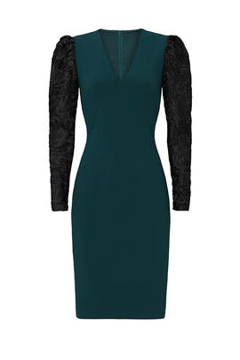 Emerald Lace Sleeve Sheath by Badgley Mischka