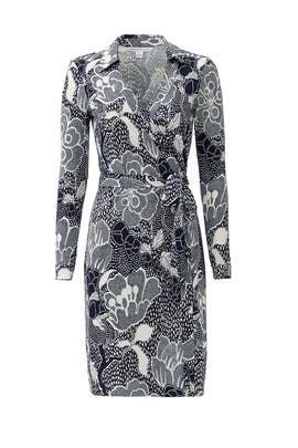 Navy New Jeanne Wrap Dress by Diane von Furstenberg