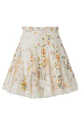 White Printed Skater Skirt by Hemant & Nandita