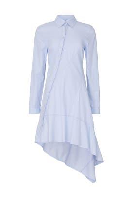 Blue Asymmetrical Shirt Dress by Koché