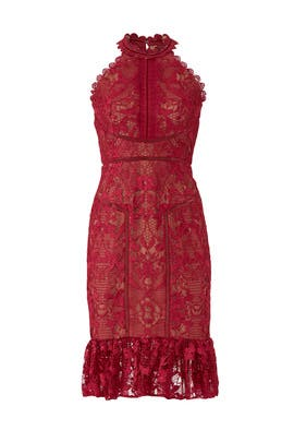 Red Lace Flounce Sheath by Marchesa Notte