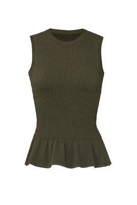 Smocked Knit Peplum Top by Nicole Miller