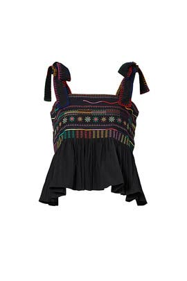Black Embroidered Ruffle Top by SALONI