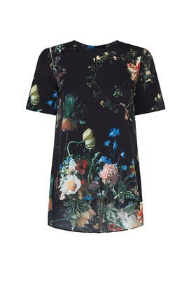 Black Floral Print Blouse by Adam Lippes Collective