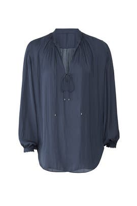 Mosaic Blue Tie Blouse by Halston Heritage