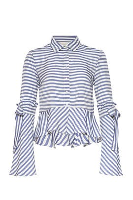 Sailor Stripe Collared Top by Nicole Miller