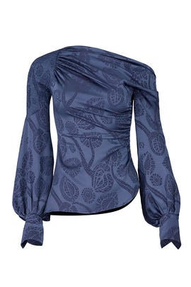 Blue Asymmetric Blouse by Peter Pilotto