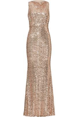 Badgley Mischka Blush Sequin Blouson Gown