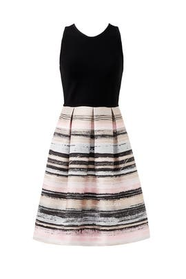 Black and Blush Stroke Dress by Carmen Marc Valvo
