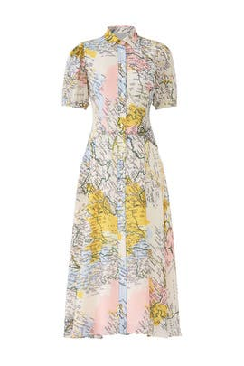 Map Button-Down Midi Dress by Derek Lam 10 Crosby