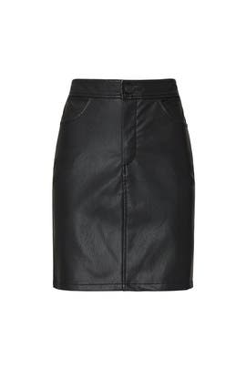 Buttoned Faux Leather Skirt by Fifteen Twenty