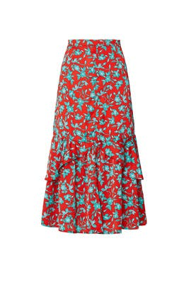 Red Turquoise Floral Skirt by Love, Whit by Whitney Port