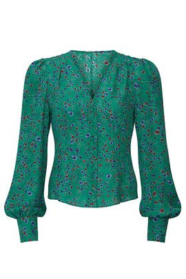 Green Button Front Blouse by Nicholas