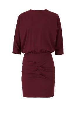 Burgundy Blouson Dress by Nicole Miller