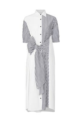 Short Sleeve Tie Front Shirt Dress by Tome