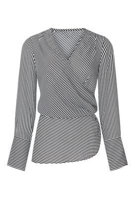 Striped Wrap Blouse by Badgley Mischka