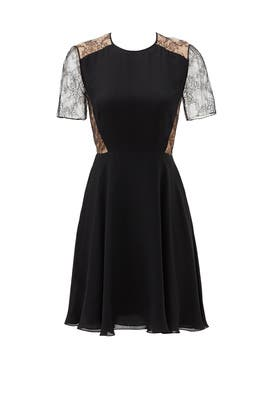 Black Silk Georgette Floral Dress by Jason Wu