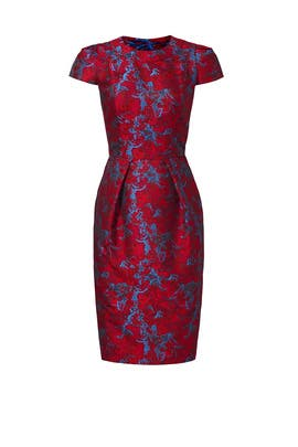 Cranberry Jacquard Dress by Carmen Marc Valvo