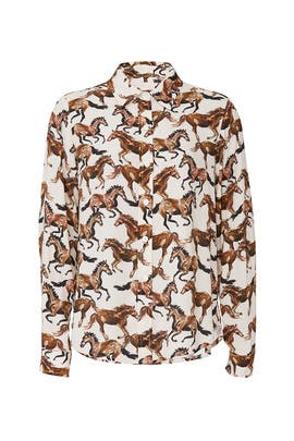 Horse Print Long Sleeve Shirt by Fifteen Twenty