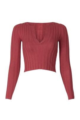 Deep V Neck Crop Sweater by Marissa Webb Collective