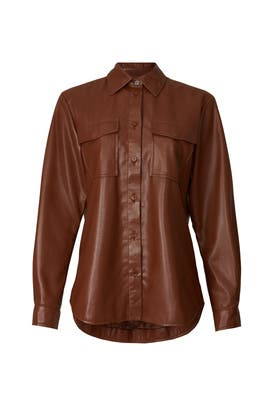 Hutton Faux Leather Shirt by Anine Bing