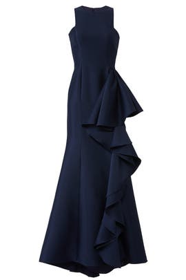 Navy Drama Ruffle Gown by Badgley Mischka