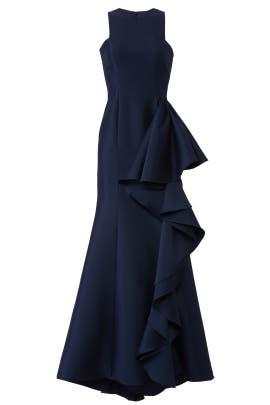 8d0c9220e8e0b Navy Drama Ruffle Gown by Badgley Mischka