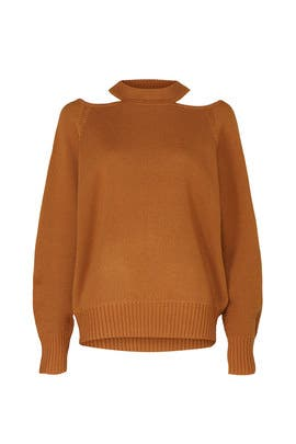 Camel Cold Shoulder Sweater by Jason Wu Collective