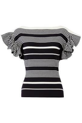 Striped Ruffle Sleeve Top by Jason Wu