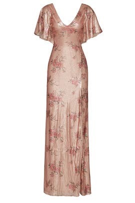 95e4d32ef852 Marchesa Notte Blush Floral Sequin Gown