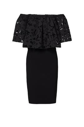 Black Lace Flower Cut Dress by Shoshanna