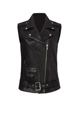 Black Castor Leather Moto Vest by VEDA