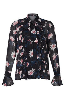 Ruffled Tie Neck Blouse by Badgley Mischka