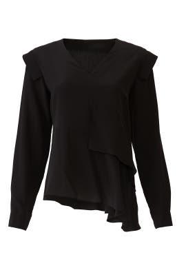 Black Silk Asymmetrical Top by Nicole Miller