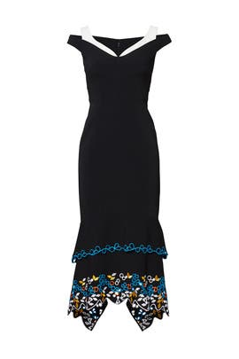 Black Crepe Embroidered Dress by Peter Pilotto