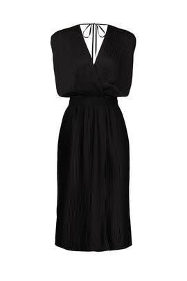 Black Cross Front Pleated Dress by Tome