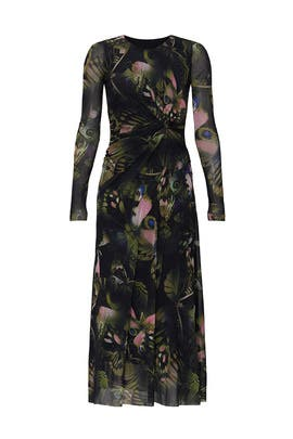 Black Butterfly Printed Midi Dress by Fuzzi