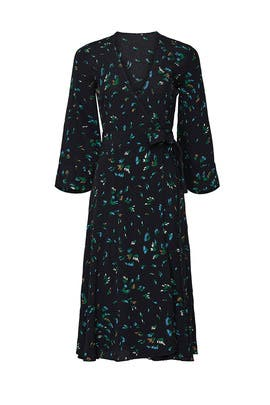 Black Floral Printed Wrap Dress by GANNI