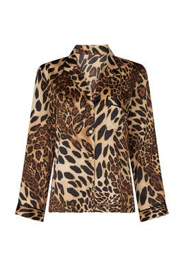 Luxe Leopard Pajama Top by Natori