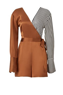 Gold Striped Colorblock Romper by Diane von Furstenberg