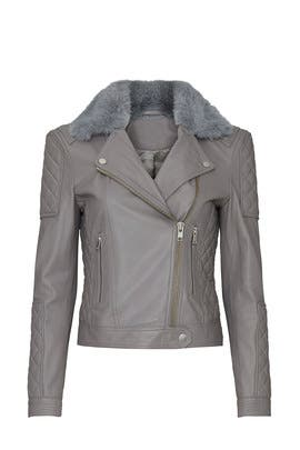 Grey Quilted Leather Biker Jacket by Samantha Sipos