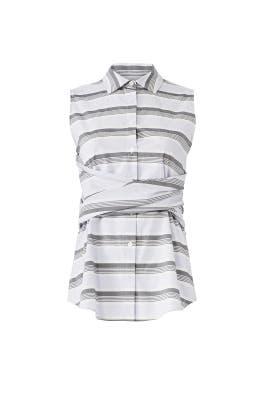 Grey Striped Tie Top by Derek Lam 10 Crosby