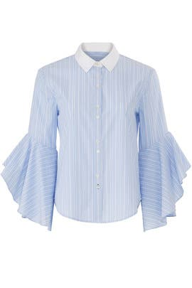 Stripe Ruffle Sleeve Shirt by Jonathan Simkhai