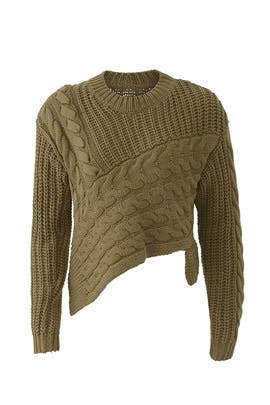 Olive Asymmetric Sweater by Line + Dot