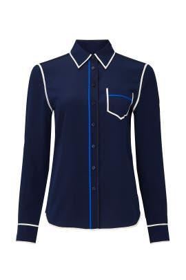 Navy Contrast Binding Shirt by Tory Burch